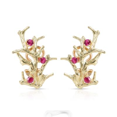 Vintage Tiffany Co Coral Pink Sapphire Earrings in 18K Yellow Gold
