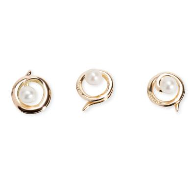 Vintage Tiffany Co Pearl Buttons in 14K Yellow Gold