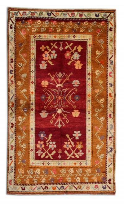 Vintage Turkish Rug Handwoven Orange Wool Konya Rug