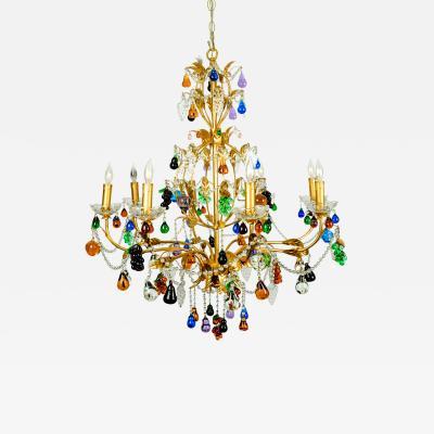 Vintage Venetian Crystal Fruits Design Chandelier