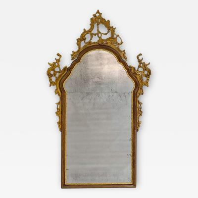 Vintage Venetian Mirror with Gilding Antiqued Glass Italy Circa 1950