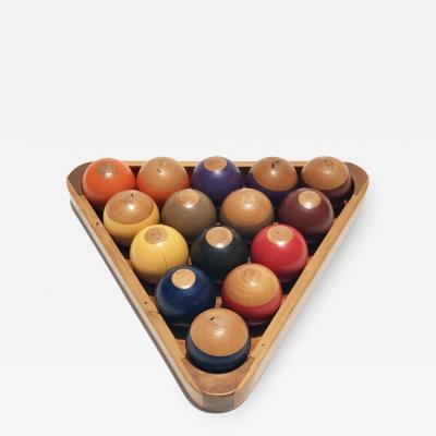 Vintage Wooden Billiard Ball Set