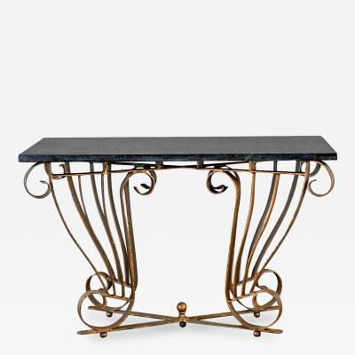 Vintage art deco style wrought iron granite top sofa console table