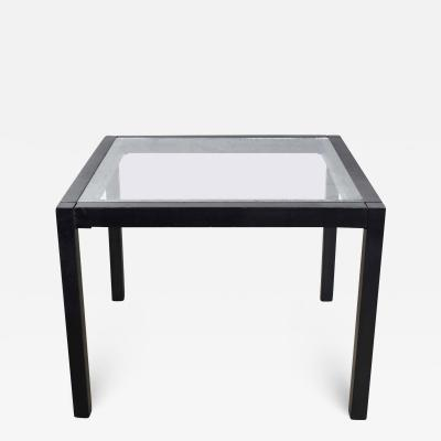 Vintage blackened oak parsons style side table with glass top