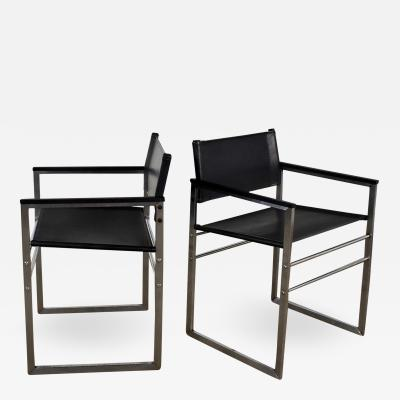 Vintage chrome black vinyl faux leather sling director s chairs straight legs