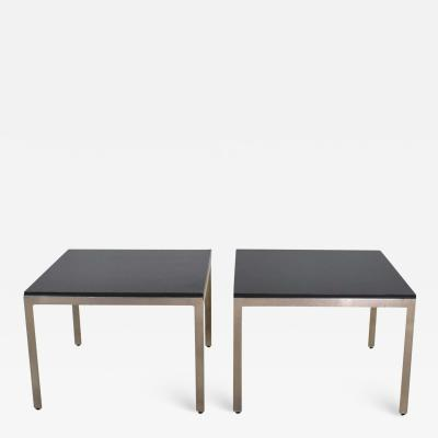 Vintage large modern square end tables in stainless steel w black laminate tops