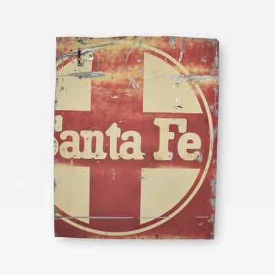 Vintage primitive rustic extra large santa fe railroad metal sign