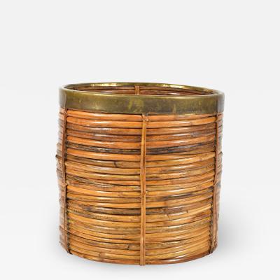 Vintage rattan and brass log basket planter