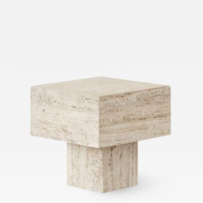 Vintage travertine side table Italy 1970s