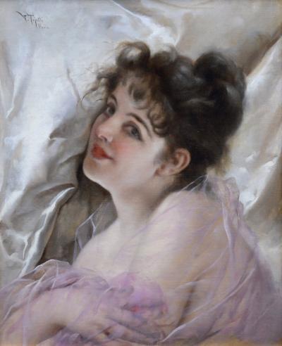Virgilio Tojetti La Coquette 19th Century Oil Painting of Italian Society Beauty