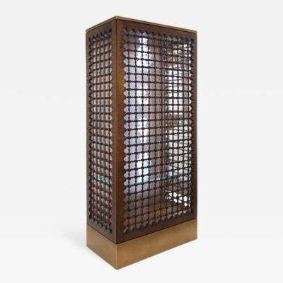 Visilek Furniture LLC Mashrabiya Vitrine in Black Walnut and Bronze