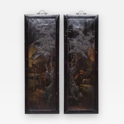 Visit to the Countryside Pair of Chinese Vintage Relief Lacquer Panels