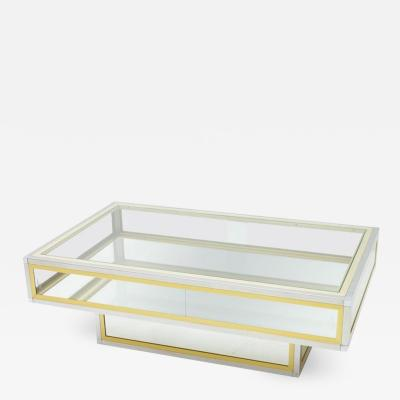 Vitrine Coffee Table in Chrome Brass and Glass France 1970s