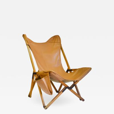 Vittoriano Vigano Armchair Tripolina by Vigan with Faux Leather Cover and Pocket
