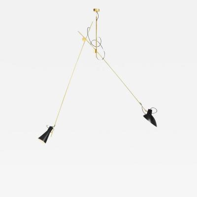 Vittoriano Vigano Vittoriano Vigan VV Suspension Lamp in Black and Brass