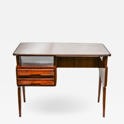 Vittorio Dassi 1950s Modernist Writing Desk In Polished Mahogany Italian Design Vittorio Dassi