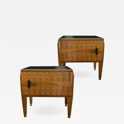 Vittorio Dassi A Fine Pair of Italian Modern Inlaid Mixed Wood Bedside Tables Vittorio Dassi