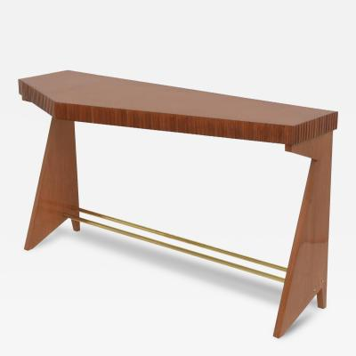Vittorio Dassi Fine Italian Modern Walnut and Brass Console Table Dassi