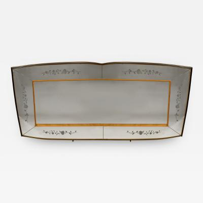 Vittorio Dassi Italian 1950s Walnut Maple Large Wall Mirror