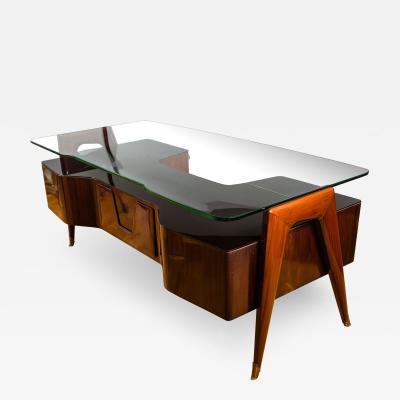 Vittorio Dassi Italian Mid Century Floating Glass Executive Desk by Vittorio Dassi