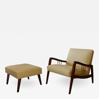 Vittorio Dassi Italian Modern Mahogany and Brass Lounge Chair Ottoman
