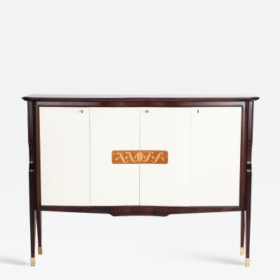 Vittorio Dassi Mid Century Italian Palisander Sideboard with offwhite Front Doors by V Dassi