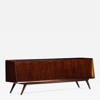 Vittorio Dassi Mid Century Sideboard in Rosewood and Glass Italy circa 1955