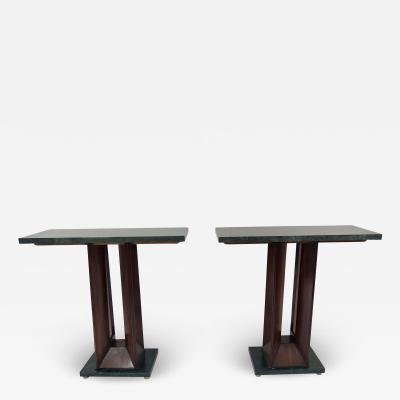 Vittorio Dassi Pair of Dassi verde alpi Marble and Rosewood Console Tables 1940