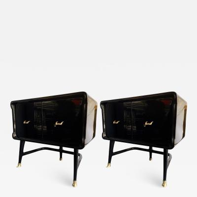Vittorio Dassi Pair of Lacquered and Bronze End Tables by Vittorio Dassi Italy 1950s