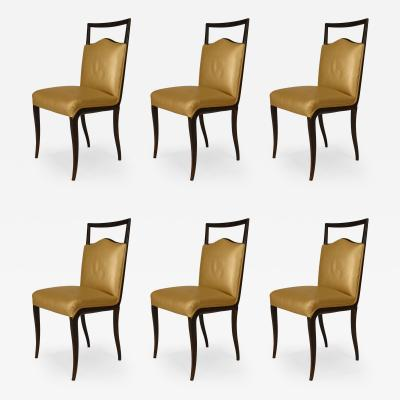 Vittorio Dassi Set of 6 Italian 1950s Walnut Maple Side Chairs