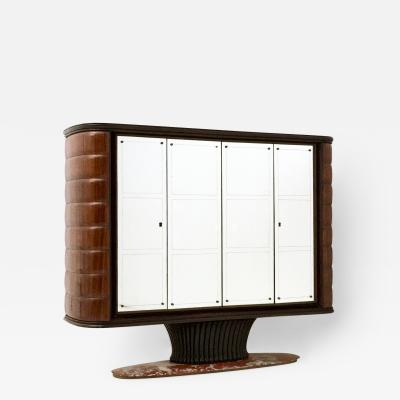 Vittorio Dassi Wooden Bar Cabinet by Vittorio Dassi with a Red Travertine Base Italy 1950s