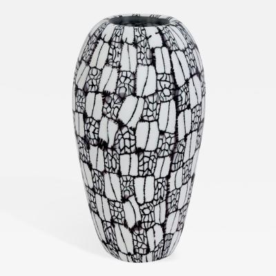 Vittorio Ferro Vittorio Ferro Hand Blown Glass Vase with Unique Black and White Murrhines 1990s