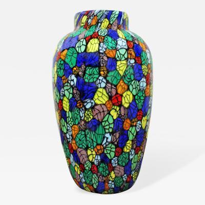 Vittorio Ferro Vittorio Ferro Hand Blown Glass Vase with Unique Colorful Murrhines ca 2000