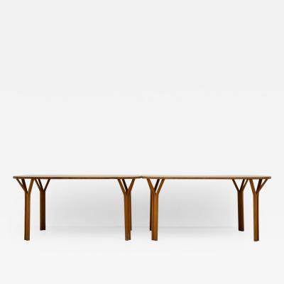 Vittorio Gregotti Vittorio Gregotti e Ludovico Meneghetti pair of tables in oak wood 1967