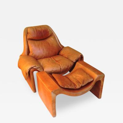 Vittorio Introini 1970sRare Vittorio Introini for Saporiti Lounge Chair and Ottoman