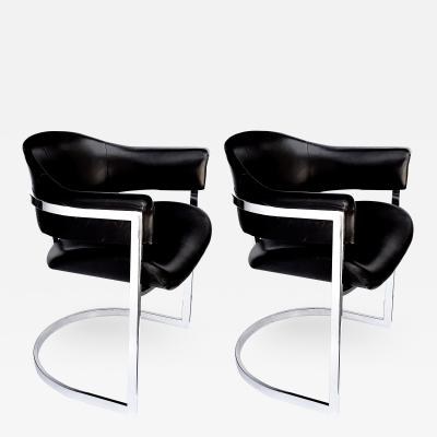 Vittorio Introini A Stylish Pair of Italian Chrome and Black Chairs by Vittorio Introini