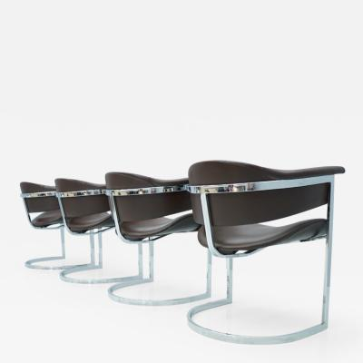 Vittorio Introini Set of Four Vittorio Introini Chrome and Brown Leather Dining Chairs 1970s