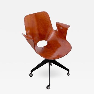 Vittorio Nobili Rare Medea Office Chair with Roles by Vittorio Nobili