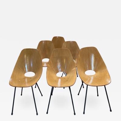 Vittorio Nobili Set of Six Medea Chairs by Vittorio Nobili Italy 1955