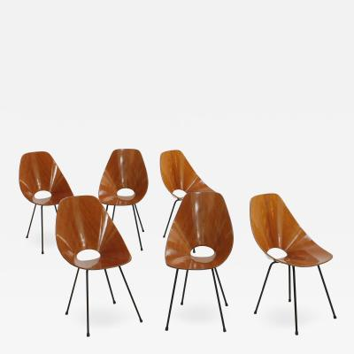 Vittorio Nobili Vittorio Nobili Set of Six Chairs Model Medea Italy 1955