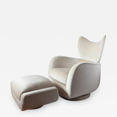 Vladimir Kagan 1970s Swivel Lounge Mohair Chair and Ottoman by Vladimir Kagan