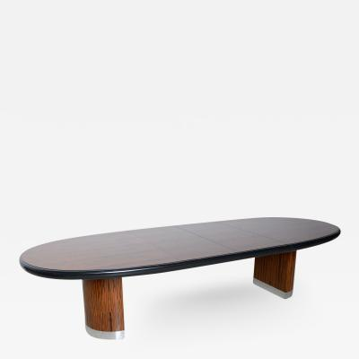 Vladimir Kagan American Modern Zebrawood and Chrome Extension Dining Table by Vladimir Kagan