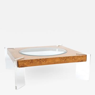 Vladimir Kagan Burl Walnut Lucite and Glass Low Table Vladimir Kagan