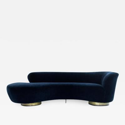 Vladimir Kagan Curved Sofa in Deep Blue Mohair by Vladimir Kagan