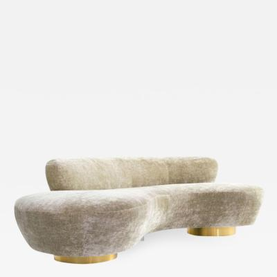 Vladimir Kagan Curved Sofa on Brass Bases by Vladimir Kagan