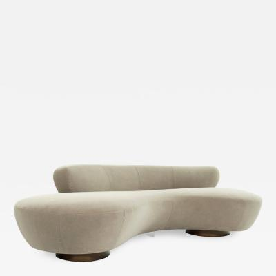 Vladimir Kagan Curved Sofa on Walnut Bases by Vladimir Kagan