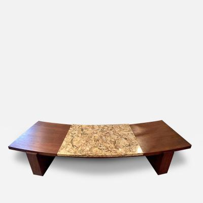 Vladimir Kagan Early Walnut and Marble Curvy Coffee Table