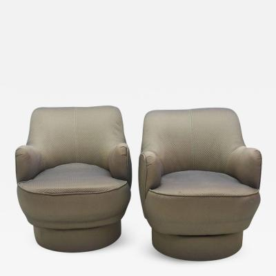 Vladimir Kagan Early and Rare American Modern Pair of Barrel Swivel Chairs Vladimir Kagan