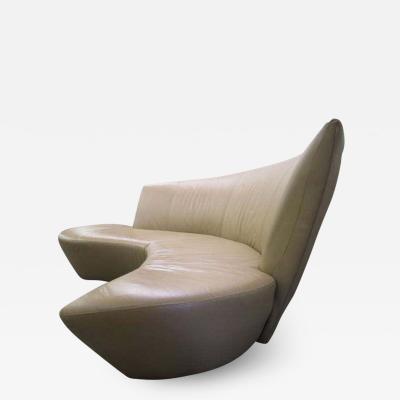 Vladimir Kagan Fabulous Sculptural Modern Vladimir Kagan Leather Bilbao Sofa Mid century