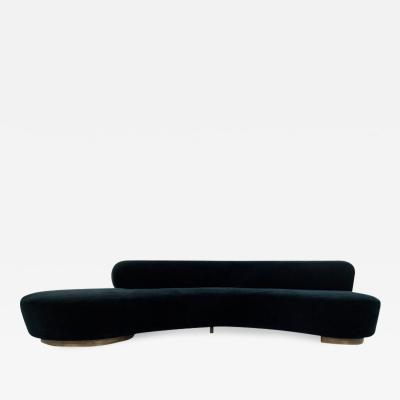 Vladimir Kagan Large Scale Serpentine Sofa in Navy Mohair by Vladimir Kagan
